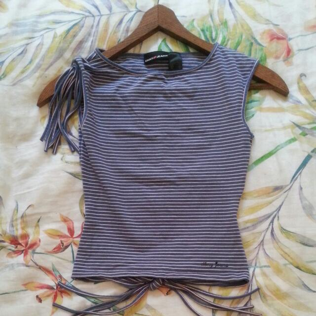 DKNY JEANS - Unique Open-back Top with Tassel Accent (Size S)