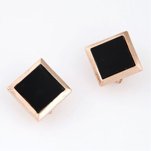Earrings - BRAND NEW - Black square studs
