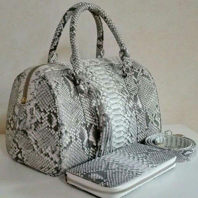 Genuine Python Skin Bag and Wallet - In Matte Finish