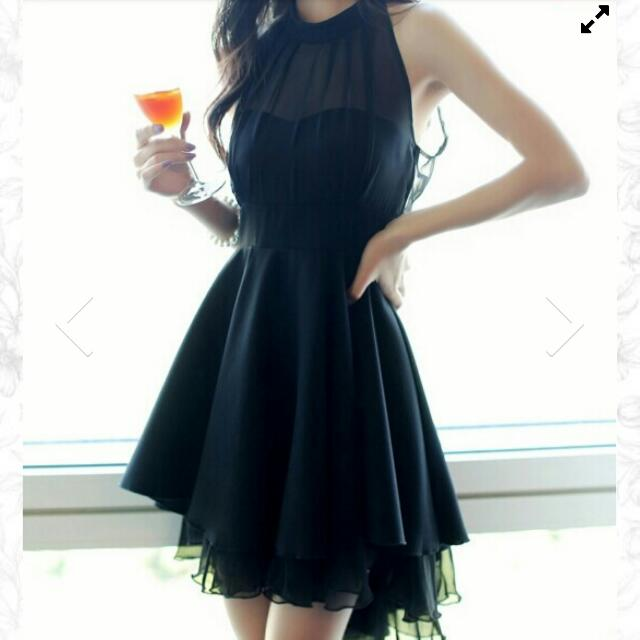 Gorgeous Black Halter Chiffon Dress