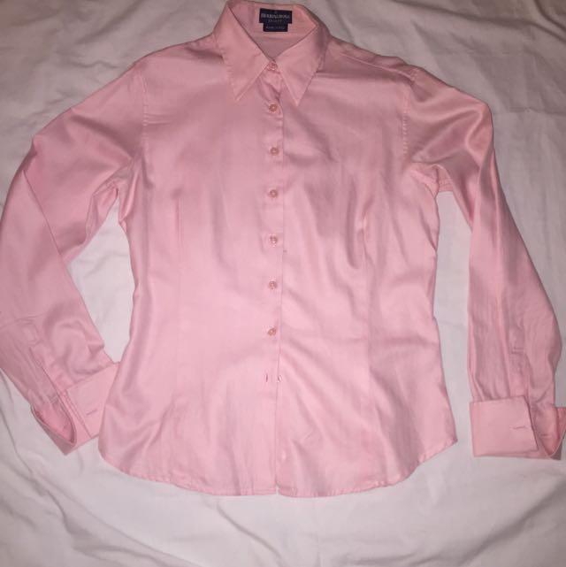Herringbone Collared Pink Business Shirt