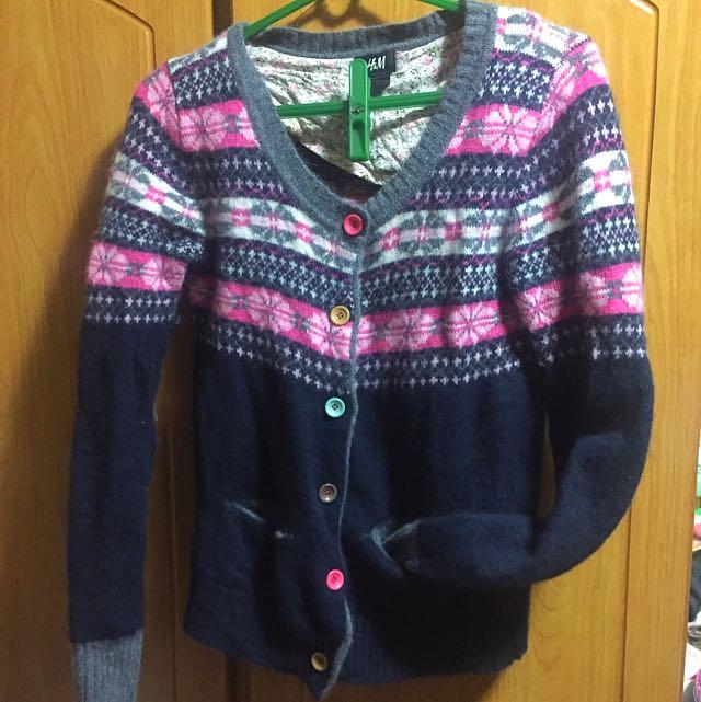 H&M圖騰羊毛外套