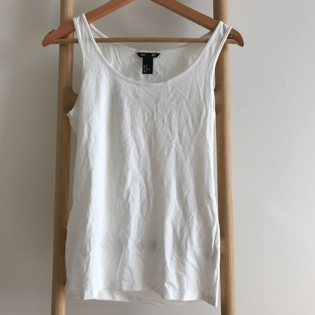 H&M Basic White Top, SZ m Fits 8-10