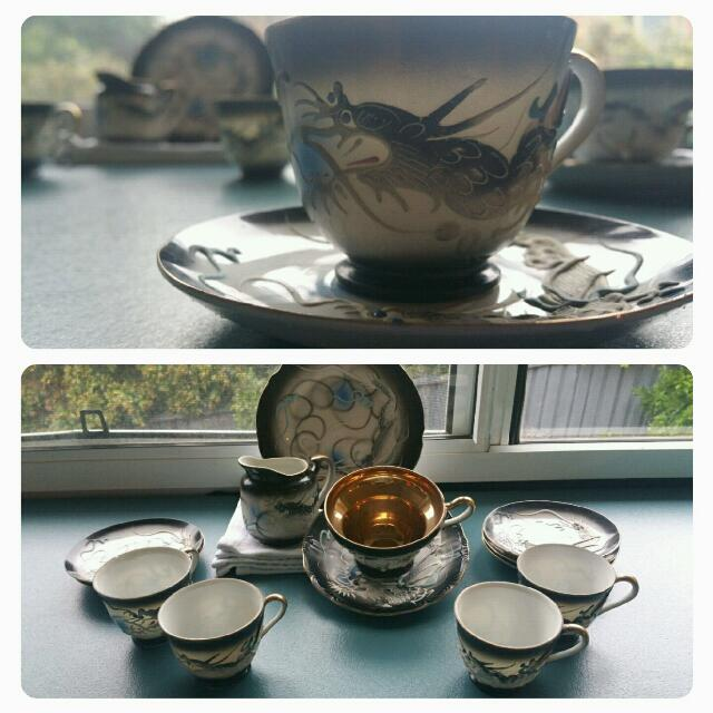Japanese Moriage Dragonware Porcelain Tea Set