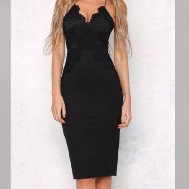 Lace Bust Midi Dress