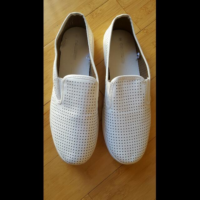 Ladies Shoes - White Loafers - Size 9