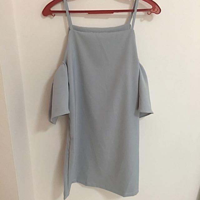 lilac cold shoulder dress