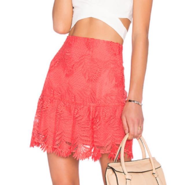 c89f5832a52 Lovers + Friends Blair Skirt Coral Red, Women's Fashion, Clothes ...