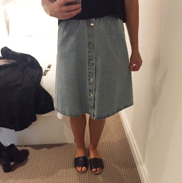 Luvalot Denim Midi Skirt