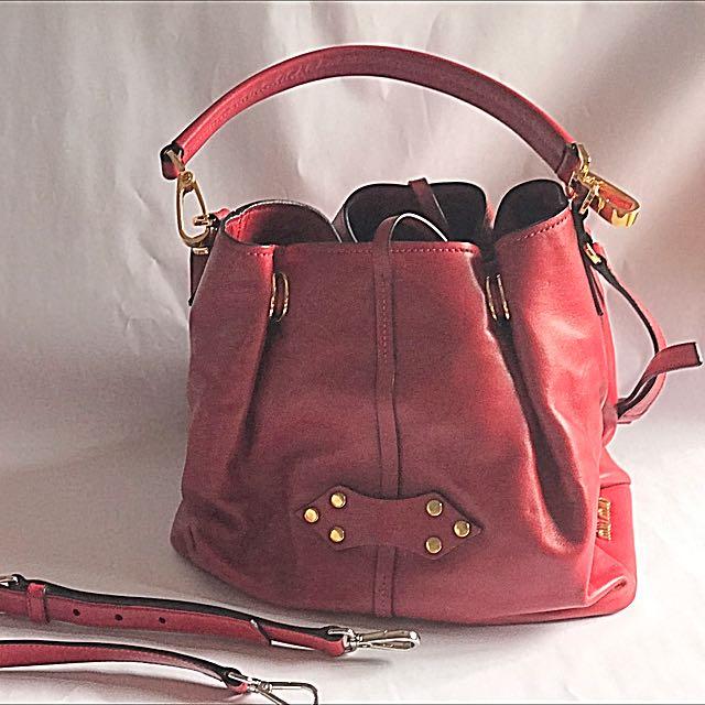 7f292f9fba7 Miu Miu Vitello Soft Leather Bucket Bag in Red, Women s Fashion ...