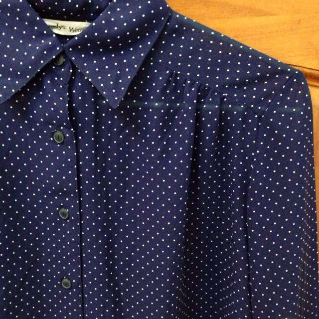 morningdeer晨鹿深藍水玉點點古著長袖襯衫