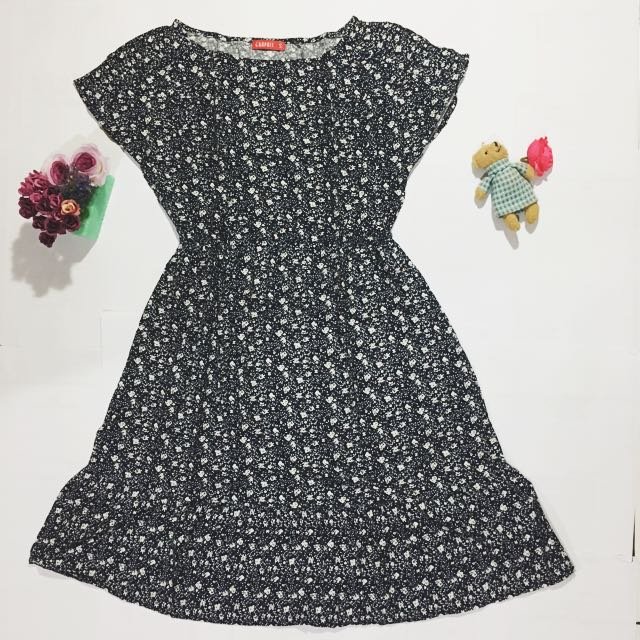 Navy Grey Flowery Dress