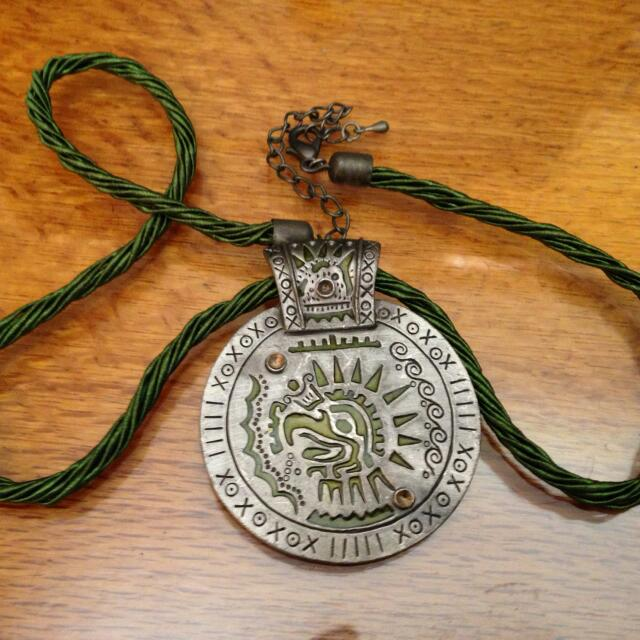 Necklace With Aztec Style Pendant