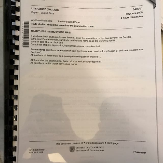 NEW IGCSE English Literature Past Year Papers Set (Question Paper + Mark  Scheme)