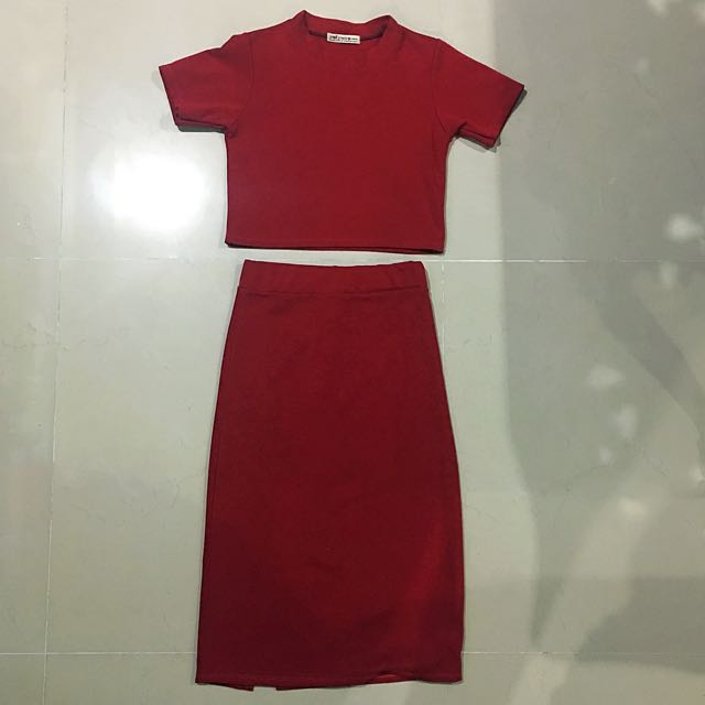 Crop Top And High Waisted Skirt (one Set) CNY sale!