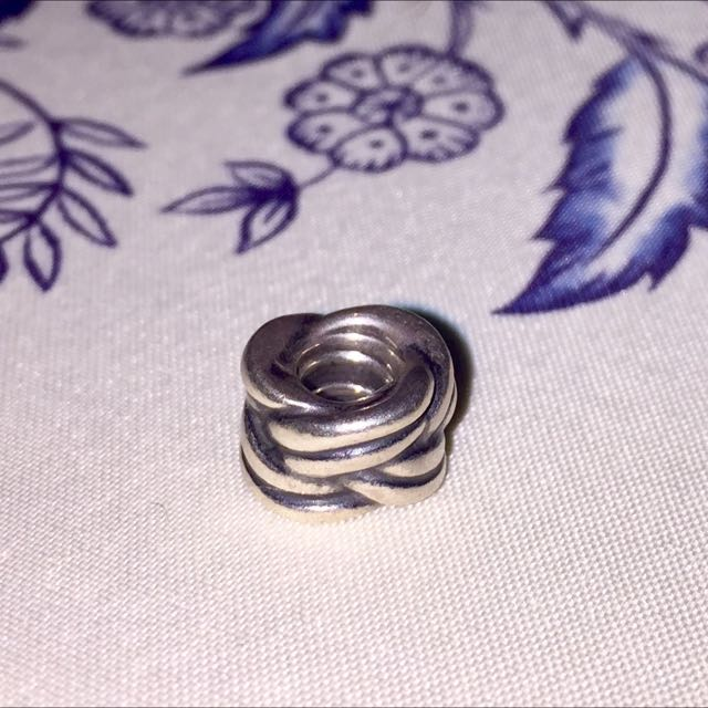 Pandora Silver Ribbed Decorative Charm