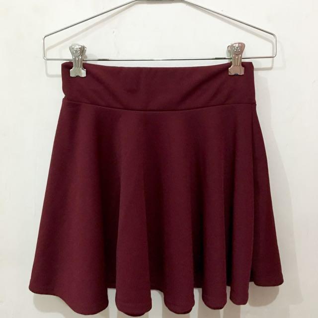 Red Wine Flare Skirt
