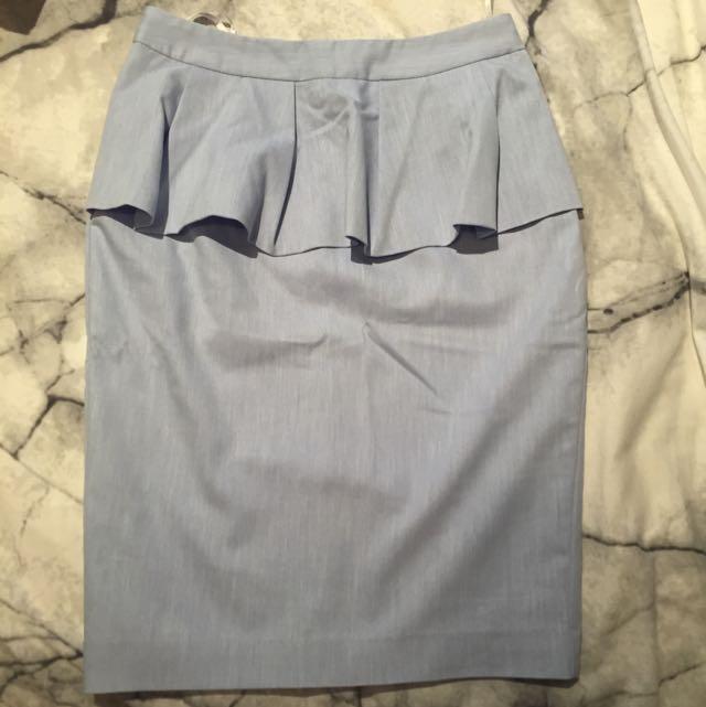 Shieke Skirt - Size 8 - Sky Blue W/peplum Ruffle