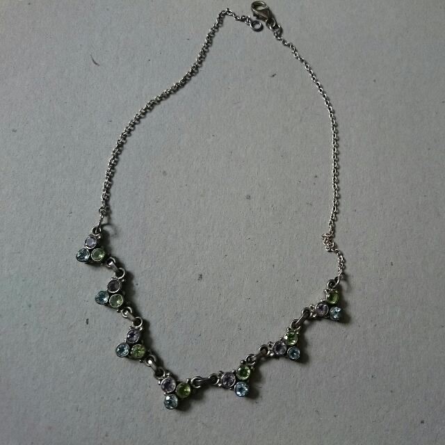 Silver and gem necklace