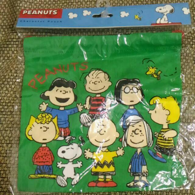 全新正版史努比snoopy束口袋綠色裝小物包包peanuts花生漫畫史奴比日本帶回