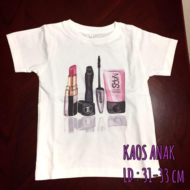 Tshirt anak motif make up tools