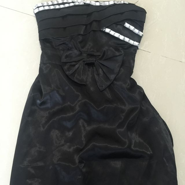 Tube black mini dress