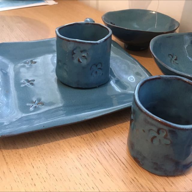 Unique Handmade Blue Crockery Set