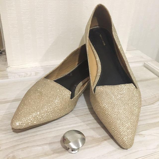 Urban&Co Rose Gold Glitter Flatshoes