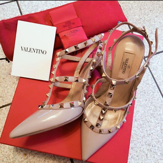 🉐徵🉐真品 Valentino 此款 漆皮 裸色 跟鞋➕平底鞋