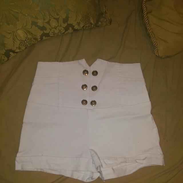 White High Waisted Shorts Size Medium