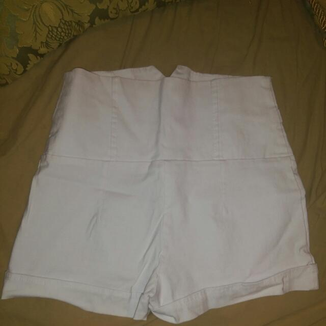 White High Waisted Shorts Size Medium