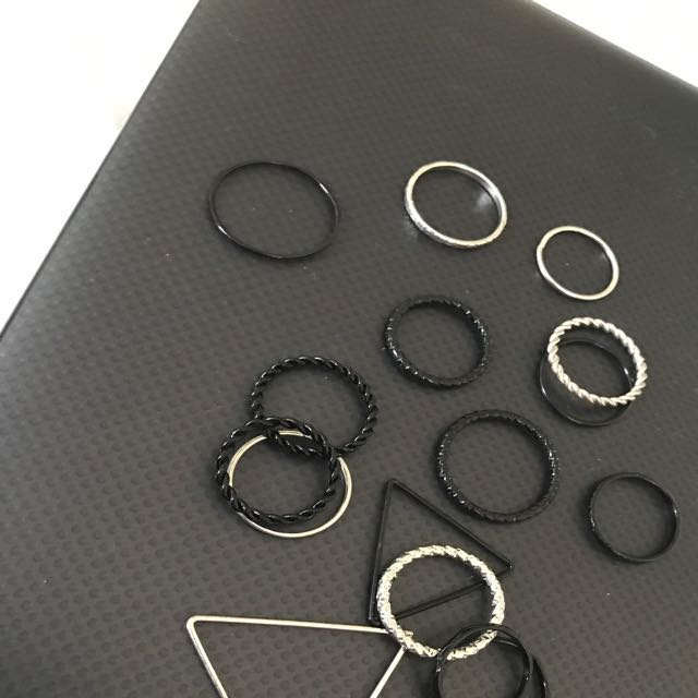 Women's Selection Of Black And Silver Rings