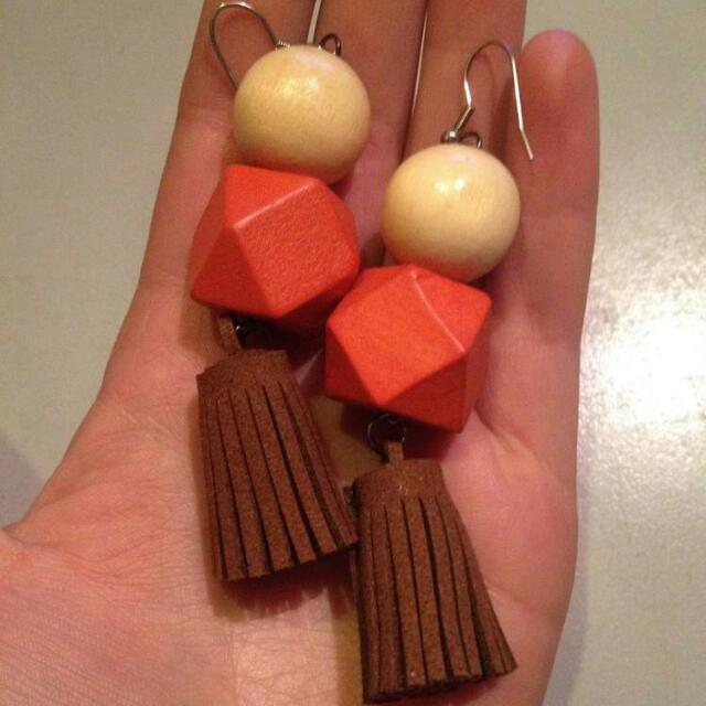 Wooden Block Earrings