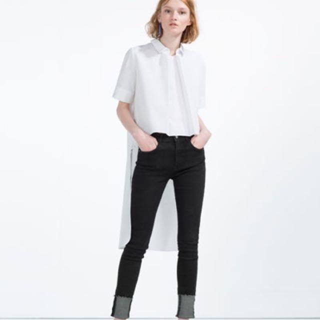 Zara前短後長 白襯衫
