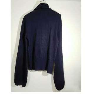 毛領深藍高領舒服長袖 衛生衣