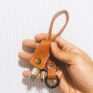 鑰匙圈皮革扣環隨身充電線