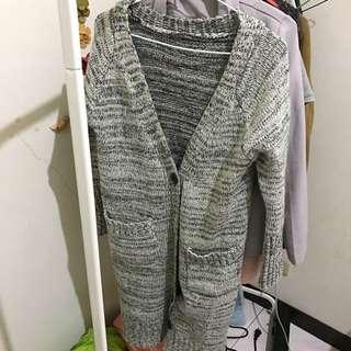 超長版 針織 混色 外套