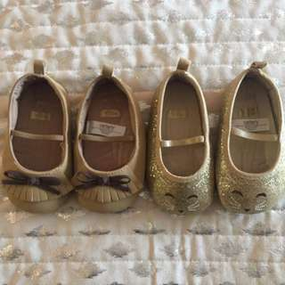 2 Pairs Of Carters Baby Flats 9-12 Months
