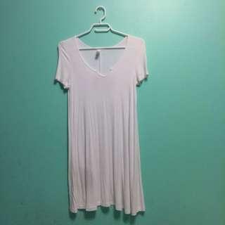 AMERICAN APPAREL WHITE T-Shirt Baggy Dress Xs