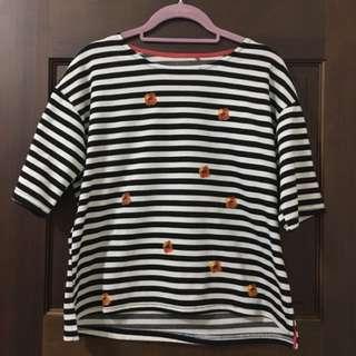 STARMIMI 條紋五分袖上衣