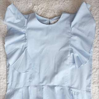 Faux the Label Wing Sleeve Blue Top