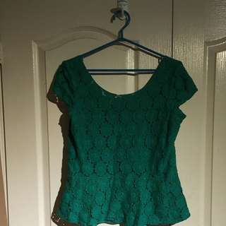 Green Lace Peplum Top