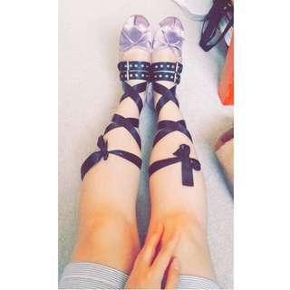 Sateen Ballerina Belted Wrap Flats