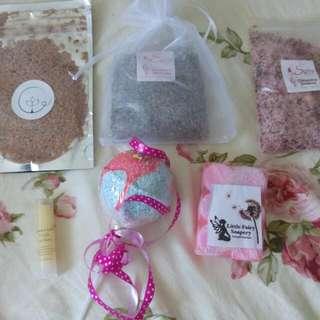 Bath salts, bath bomb, soap, lip balm