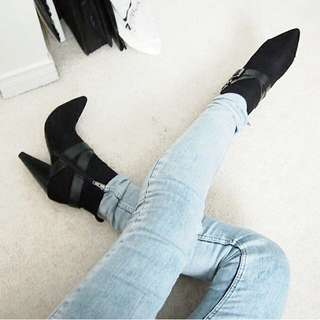 Pointed Ankle Heel Boots Leather
