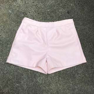Baby Pink Faux / Fake Leather Shorts (small)