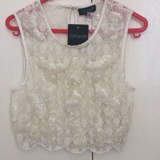 Topshop Lace Embellished Top