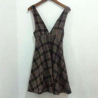 Zara Woman Overall - Skater Plaid Dress