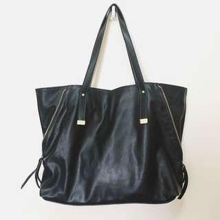 Forever21 Black Zip Sides Tote Handbag