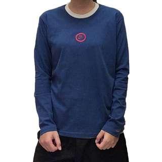 全新藍底滾邊胸前刺繡nike 長袖T恤